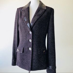 St. John Marie Gray Tweed And Leather  Blazer